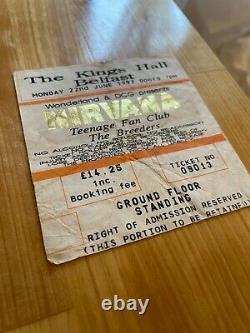 Nirvana Concert Ticket Stub, Kings Hall Belfast, Genuine Original 22nd June 1992