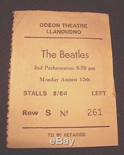 ORIGINAL 1963 Beatles Concert TICKET STUB-Carnonvonshire, LLandudno, NW WALES