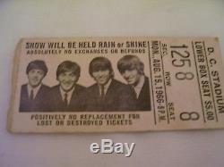 ORIGINAL ENTIRE Beatles Concert Ticket Stub 1966 DC Stadium, Washington DC