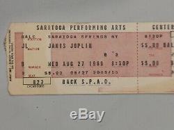 ORIGINAL Janis Joplin 1969 Concert Ticket Stub Saratoga New York Post Woodstock