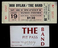 ORIGINAL Vintage BOB DYLAN / THE BAND Unused 1974 CONCERT TICKET Stub & PIT PASS