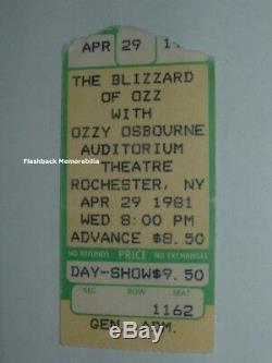 OZZY / MOTORHEAD 1981 Concert Ticket Stub ROCHESTER Mega Rare RANDY RHOADS Lemmy