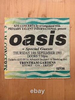 Oasis ticket stub used 1995 gig Stoke Trentham Gardens concert UK England tour