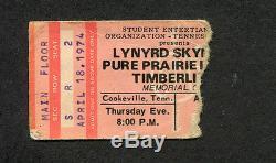 Original 1974 Lynyrd Skynyrd concert ticket stub Cookeville TN Second Helping