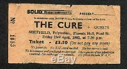 Original 1982 The Cure Concert Ticket stub Sheffield UK Pornography Robert Smith