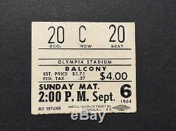 Original Beatles! St US Tour 1964 Concert Ticket Stub Olympia Stadium Detroit