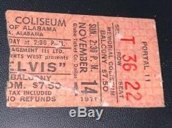 Original Elvis Tuscaloosa, Alabama November 14, 1971 Concert Ticket Stub