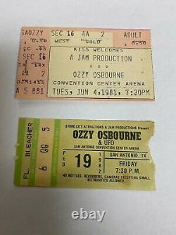 Ozzy Osbourne Concert Ticket Stubs Rare Infamous San Antonio Texas Randy Rhoads