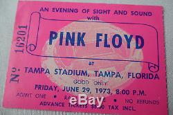 PINK FLOYD 1973 Original CONCERT Ticket STUB DARK SIDE of the MOON TOUR, Tampa