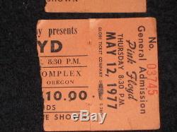 Pink Floyd 1977 Concert Ticket Stub Portland Coliseum Oregon Animals Tour