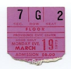 PINK FLOYD Concert Ticket Stub 3-19-1973 Providence RI Dark Side Of The Moon