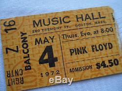 PINK FLOYD Original 1972 CONCERT Ticket STUB Music Hall, Boston