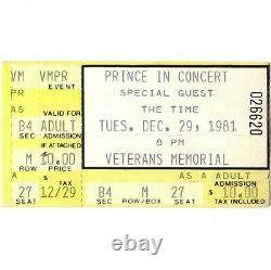 PRINCE & THE TIME Concert Ticket Stub COLUMBUS OH 12/29/81 CONTROVERSY TOUR Rare