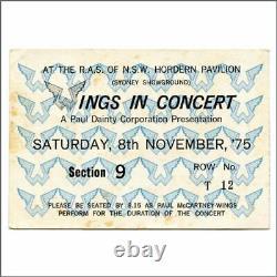 Paul McCartney 1975 Wings Sydney Hordern Pavilion Concert Ticket Stub Australia