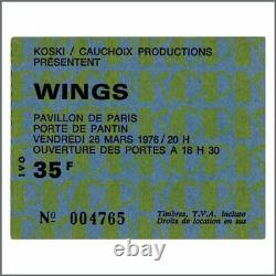 Paul McCartney & Wings 1976 Pavillon De Paris Concert Ticket Stub (France)