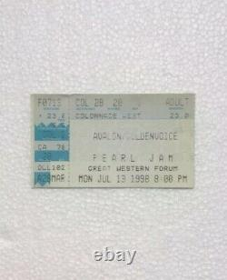Pearl Jam Concert Ticket Stub Great Western Forum 7/13/98 Vault Series Date