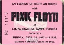 Pink Floyd 1977 Animals Tour Tampa Stadium Concert Ticket Stub / David Gilmour