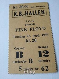 Pink Floyd concert ticket stub 1971 Denmark very rare