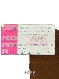 QUEEN 1977 Concert Ticket Stub Freddie Mercury RARE Oakland Coliseum