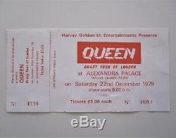 QUEEN Alexandra Palace 1979 Crazy Tour Of London UK Concert Ticket + Stub