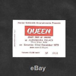 QUEEN Crazy Tour Of London 1979 Alexandra Palace Concert Ticket Stub Queen