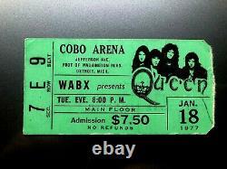 QUEEN / THIN LIZZY Concert Ticket Stub 1-18-1977 COBO ARENA DETROIT MICHIGAN