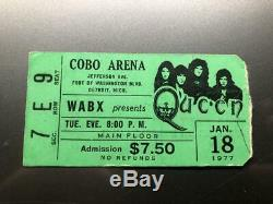 QUEEN / THIN LIZZY Concert Ticket Stub JANUARY 18, 1977 COBO DETROIT MICHIGAN