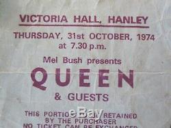 QUEEN Victoria Hall Hanley 1974 Concert Ticket Stub Sheet Heart Attack UK Tour