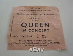 Queen 1975 City Hall Newcastle UK Tour Concert Ticket Stub 11.12.1975