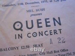Queen 1975 Newcastle Concert Ticket Stub A Night At The Opera UK Tour 11.12.75