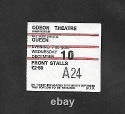 Queen Birmingham Odeon 10th December 1975 UK Tour Concert Ticket Stub