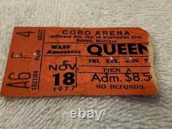 Queen Cheap Trick 1977 Concert Ticket Stub Detroit Cobo Arena Freddie Mercury