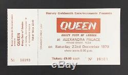 Queen Crazy Tour Alexandra Palace 1979 UK Concert Ticket + Stub Rare