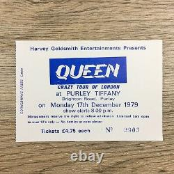 Queen Crazy Tour Purley Tiffany 1979 UK Concert Ticket + Stub Rare