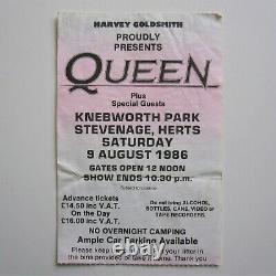 Queen'Knebworth' Final 1986 Concert Ticket Stub (Magic Tour) Freddie Mercury