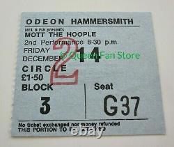 Queen / Mott The Hoople 1973 Hammersmith Odeon UK Tour Concert Ticket Stub NM