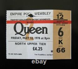 Queen Wembley 1978 UK Tour Concert Ticket Stub Freddie Mercury