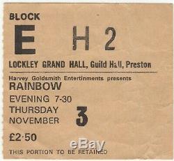 RAINBOW & KINGFISH Concert Ticket Stub PRESTON UK 11/3/77 RONNIE JAMES DIO Rare