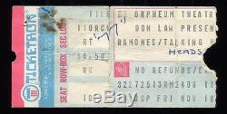 RAMONES Concert Ticket Stub 11-18-1977 TALKING HEADS Boston, Massachusetts
