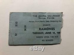 RAMONES Concert Ticket Stub JUNE 10, 1980 AGORA BALLROOM TAMPA FLORIDA FL