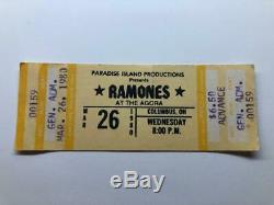 RAMONES Concert Ticket Stub March 26, 1980 THE AGORA BALLROOM COLUMBUS OHIO