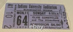 RARE 1979 Elvis Costello MISSPELLED Attractions concert ticket stub Indiana Univ