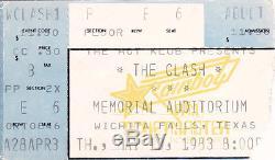 Rare 1983 The Clash Texas Concert Ticket Stub Joe Strummer