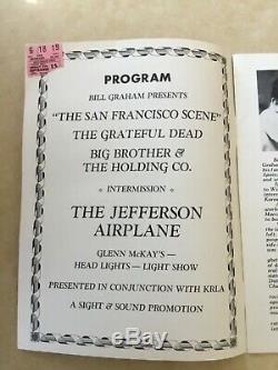 RARE FILLMORE CONCERT PROGRAM GRATEFUL DEAD & TICKET STUB Graham FREE SHIP