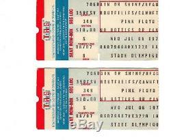RARE PINK FLOYD 1977 CONCERT TICKET STUBS (pair) MONTREAL OLYMIC STADIUM