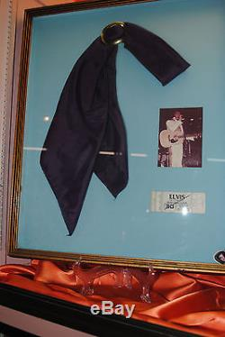 RARE Purple Elvis Presley's personal Scarf framed with concert photo ticket stub