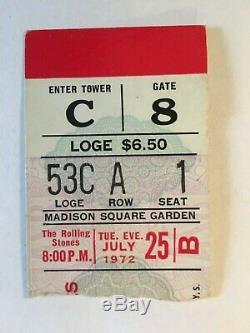ROLLING STONE Original RARE, 1972 CONCERT TICKET STUB- EXILE MAIN STREET TOUR