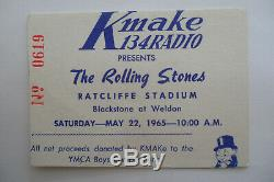 ROLLING STONES 1965 CONCERT TICKET STUB Ratcliffe Stadium, Fresno