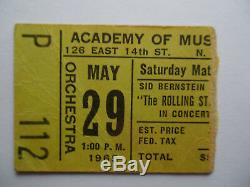 ROLLING STONES 1965 Original CONCERT TICKET STUB Academy of Music NYC VG++