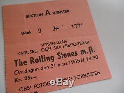ROLLING STONES 1965 Original CONCERT TICKET STUB Gothenberg SWEDEN EX